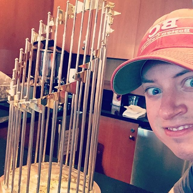 Me and the trophy I won for my intramural softball league sophomore year in college #meandthetrophyiwonformyintramuralsoftballleaguesophomoreyearincollege
