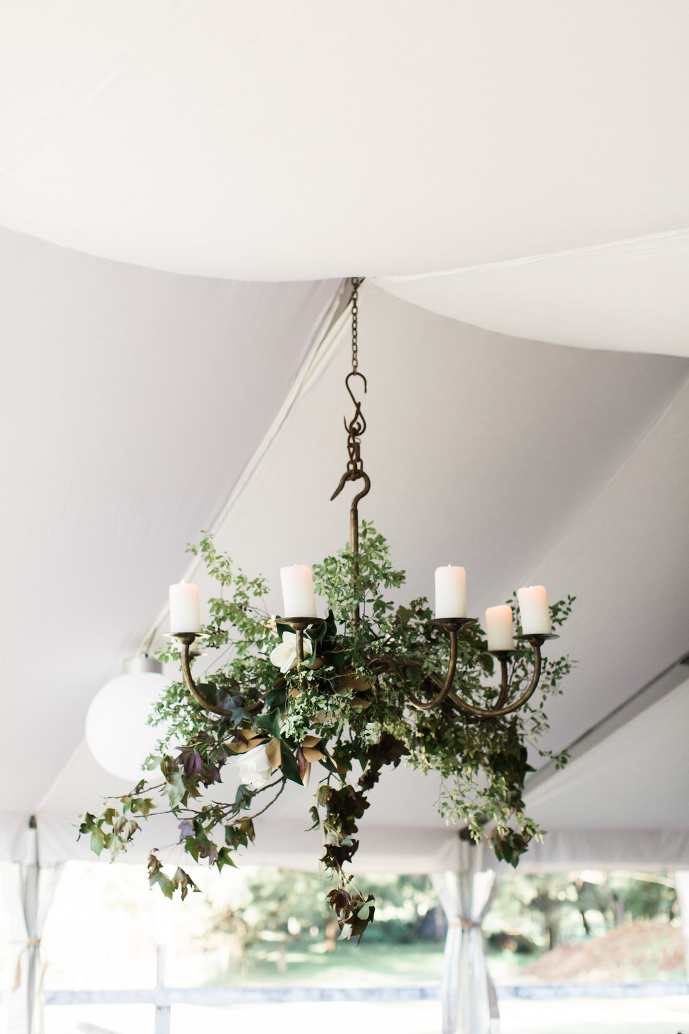The marquee's existing iron chandeliers simply dressed with Autumn foliage and pittostrom.