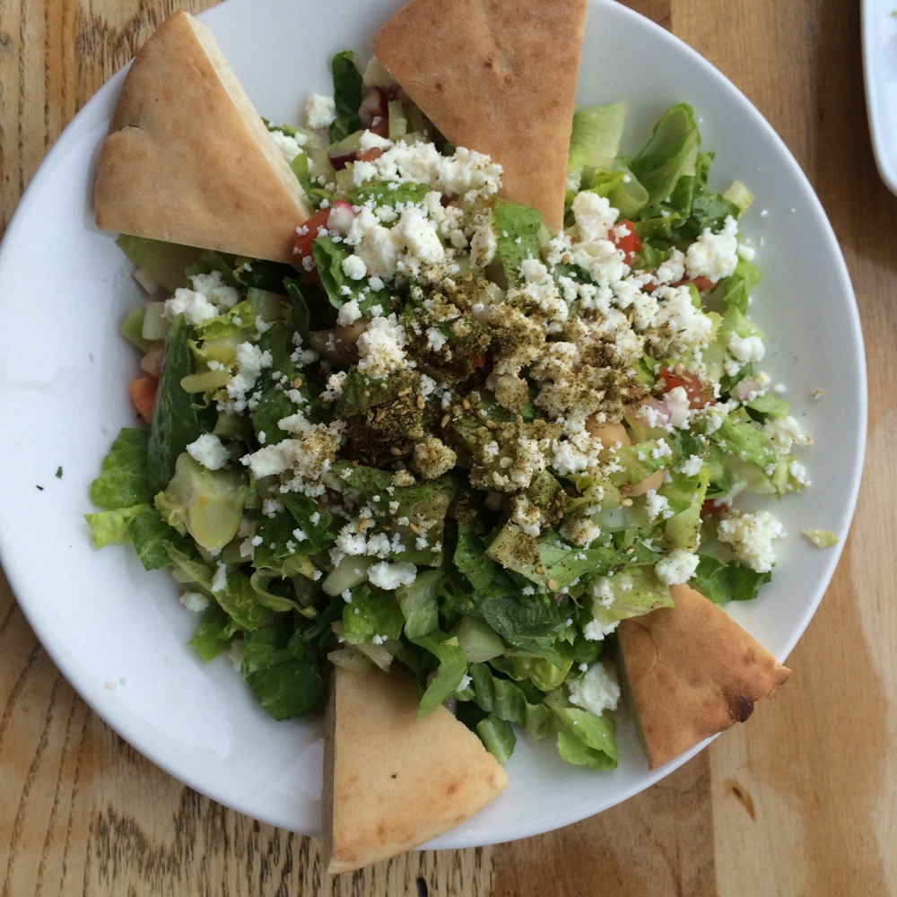 Chopped salad, keep it to one pita