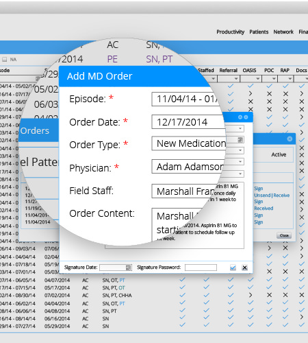 FasterNotes patient list. Easy to navigate through and work on patients records from the list view