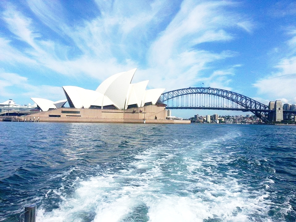Sydney Opera House and bridge from boat photo