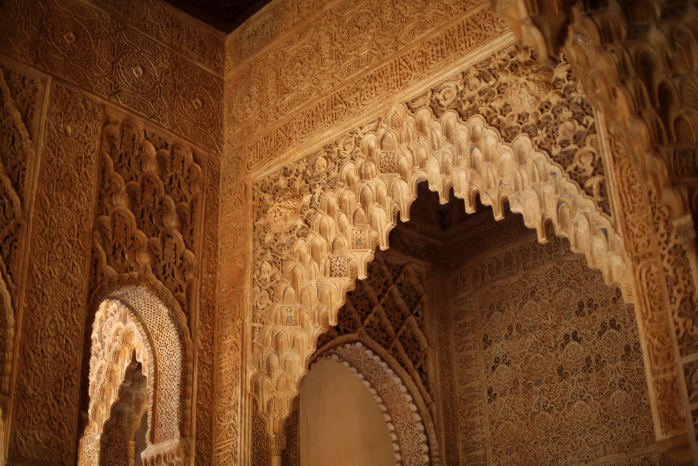 It was within the courts of the Alhambra that Queen Isabella and King Ferdinand met with Christopher Columbus and provided the funds for his travels and discoveries.