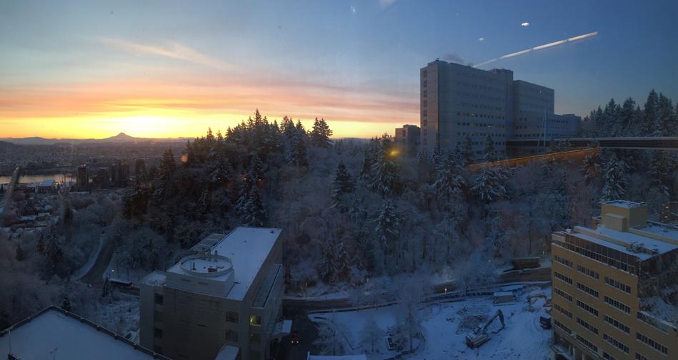 Mt Hood and the VA Medical Center at sunrise  Photo cred: Avi O'Glasser