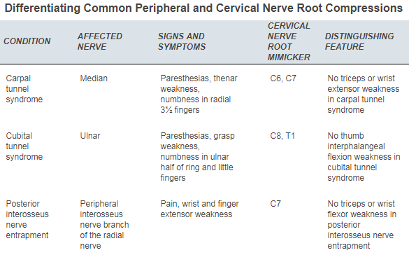 Image adopted from  Childress and Becker, Nonoperative Management of Cervical Radiculopathy, AAFP 2016 .