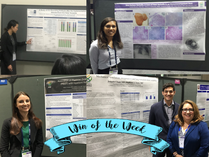 Photo collage featuring Pat Liu, Ambika Bhushan, Taylor Myers, Joaquin Chapa, and attending Stephanie Nonas.  Not pictured, Aya Mayo, Katie Artis, and Jeff Gold.  Photos courtesy of Stephanie Nonas.  Huge thank you for the on-the-scenes reporting and support for resident/fellow scholarship!