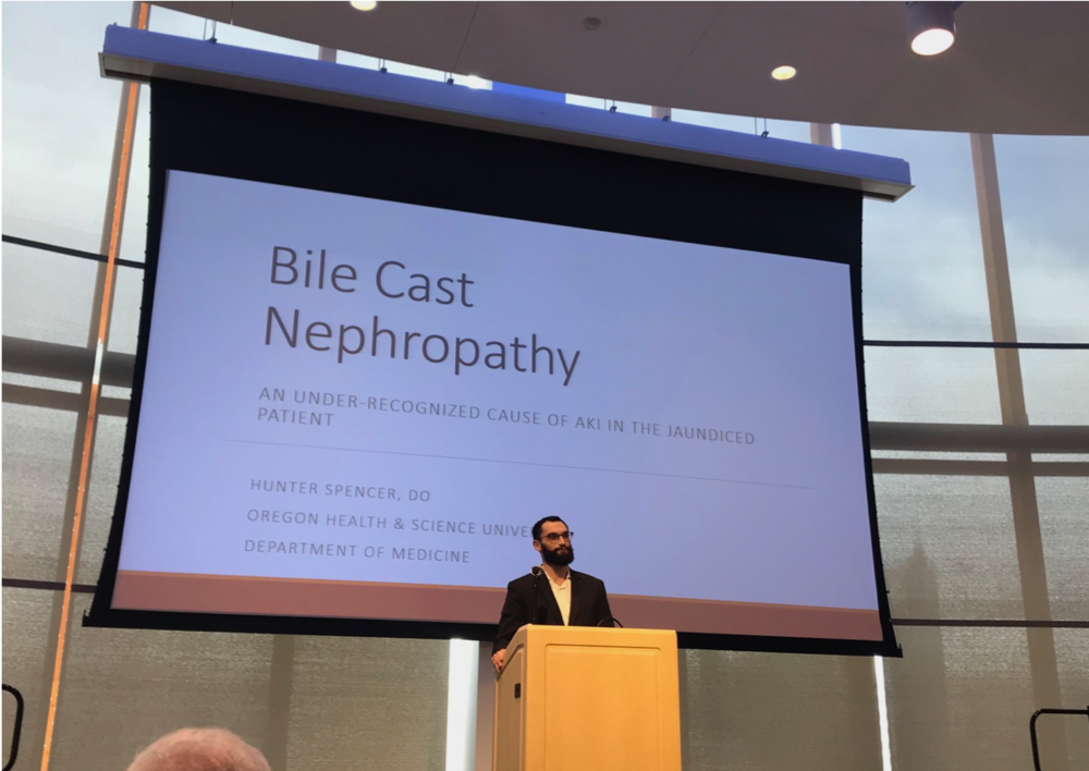 "LIVE UPDATE: Dr. Hunter Spencer presenting his clinical case ""Bile Cast Nephropathy"" as an oral presentation this afternoon!"