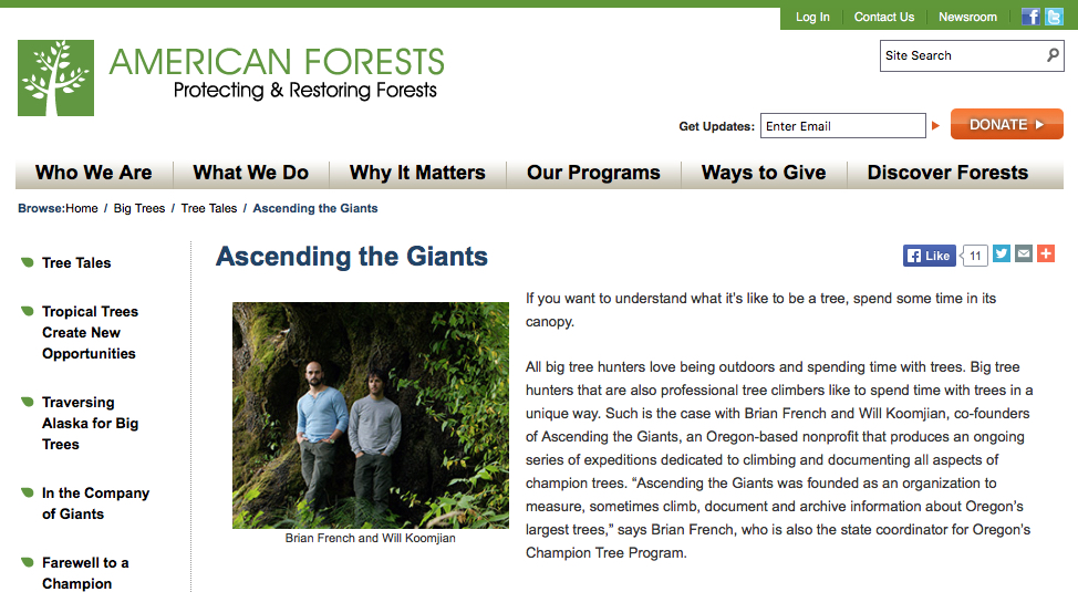 American Forests, claimed to be the first Non-profit organization, is the keeper of the National Register of Big Trees.