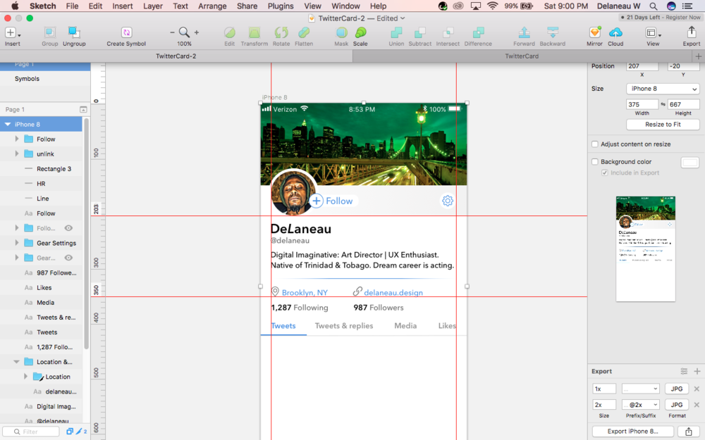 Twitter Mobile Profile - Tweaking the current profile layout in Sketch