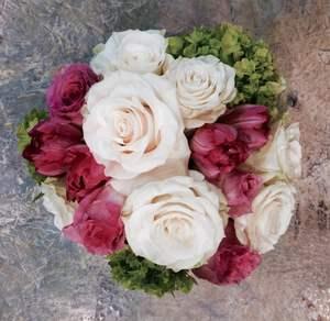 Roses, tulips and hydrangea.