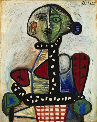 Pablo Picasso  Femme au chignon dans un fauteuil, 1948  Signed  Picasso  (upper right) and dated  1.11.48  on the reverse  Oil on canvas  36 ¼ by 28 ¾ in. (92 by 73 cm)