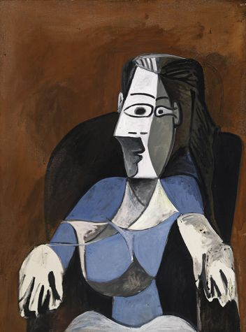 Pablo Picasso  Femme assise dans un fauteuil noir, Painted on November 19 & December 18, 1962.  Dated 19.11.62/18.12 on the reverse  Oil on canvas  51 1/8 by 38 1/8 in.  130 by 97 cm