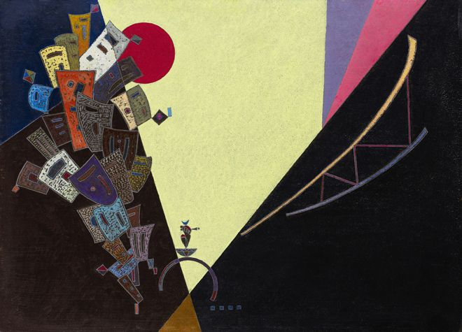 Wassily Kandinsky  Epanouissement, 1943  Signed with the monogram and dated 43  Tempera and oil on board  16 1/2 by 22 7/8 in.  42 by 58 cm