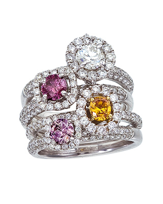 Colored Diamond Stackable Rings