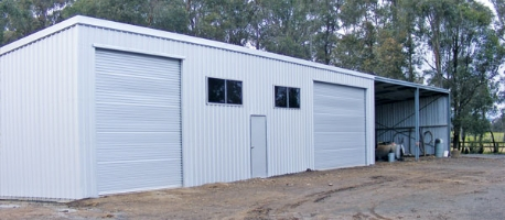 Farm Shed with Open Bays and Enclosed Bays