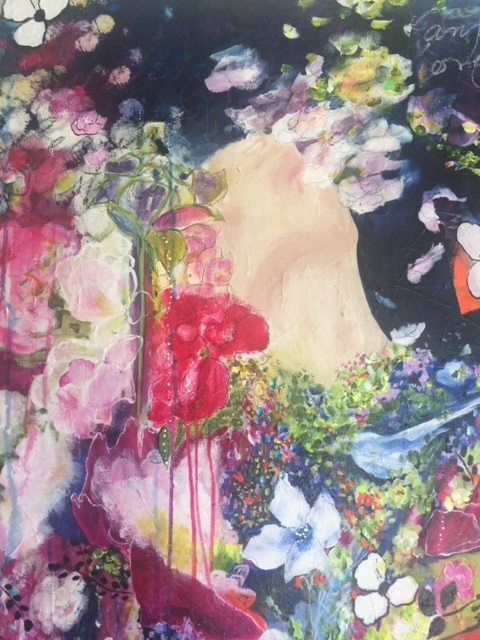 SECRET GARDEN SERIES (yet unnamed), 30x30 acrylic, pastel, and ink on canvas Leah Campbell Badertscher Copyright 2016, All Rights Reserved (partial image, see below for full view)