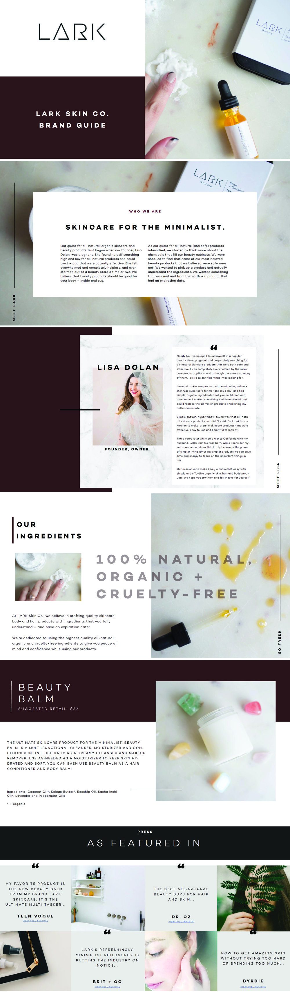 LARK Skin Co. Brand Guide | Print Design Work