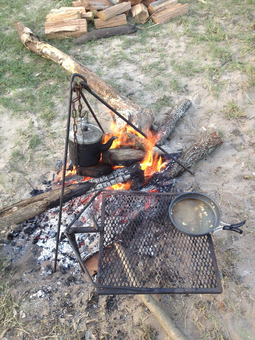 Cooking roast lamb whilst camping