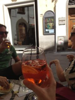 Aperitivo with friends on my Tuscan food tour