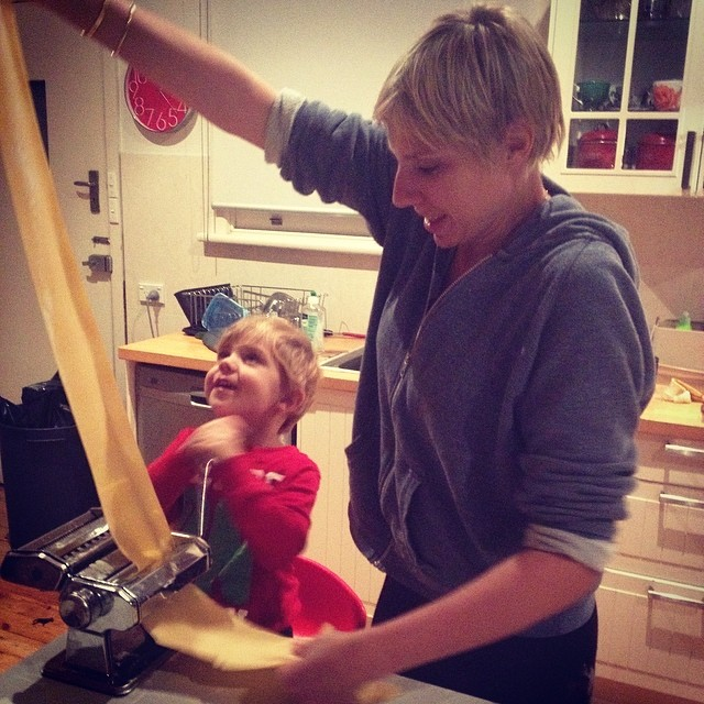 My son and I making pasta for lasagna. Come with me on a food tour to Florence, Tuscany, Italy