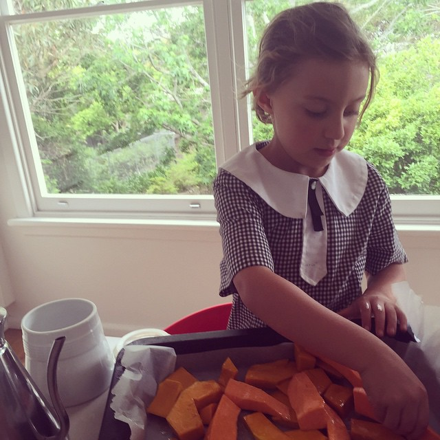 Coco cooks Monday's - roasted pumpkin and sweet potato for soup. Recipes and cooking classes for kids