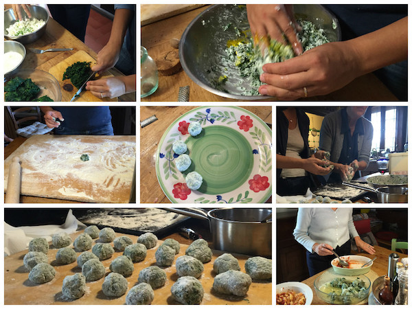 Italian Spinach dumplings getting made in Italy in a tuscan kitchen