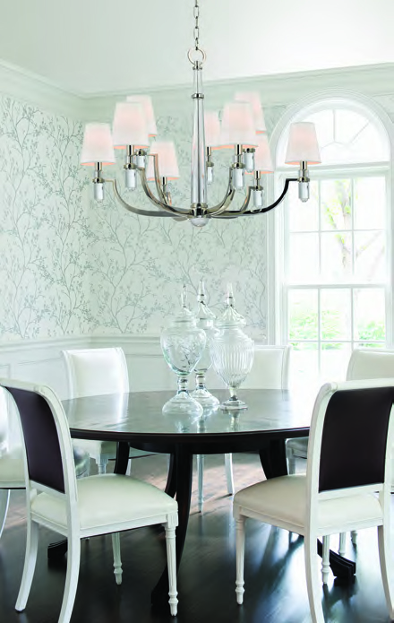 Left: Dayton nine light chandelier in polished nickel (989-PN-WS). Right: Dolce seven light pendant in champagne leaf finish (109-47).