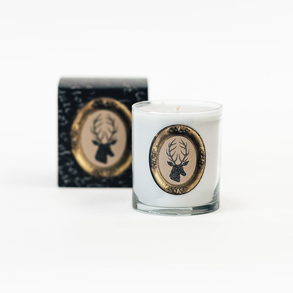 The  Stag Candle  is most certainly a favorite with a scent of Siberian Fir, Cilantro, Citrus & Raspberry.  It's truly dreamy.
