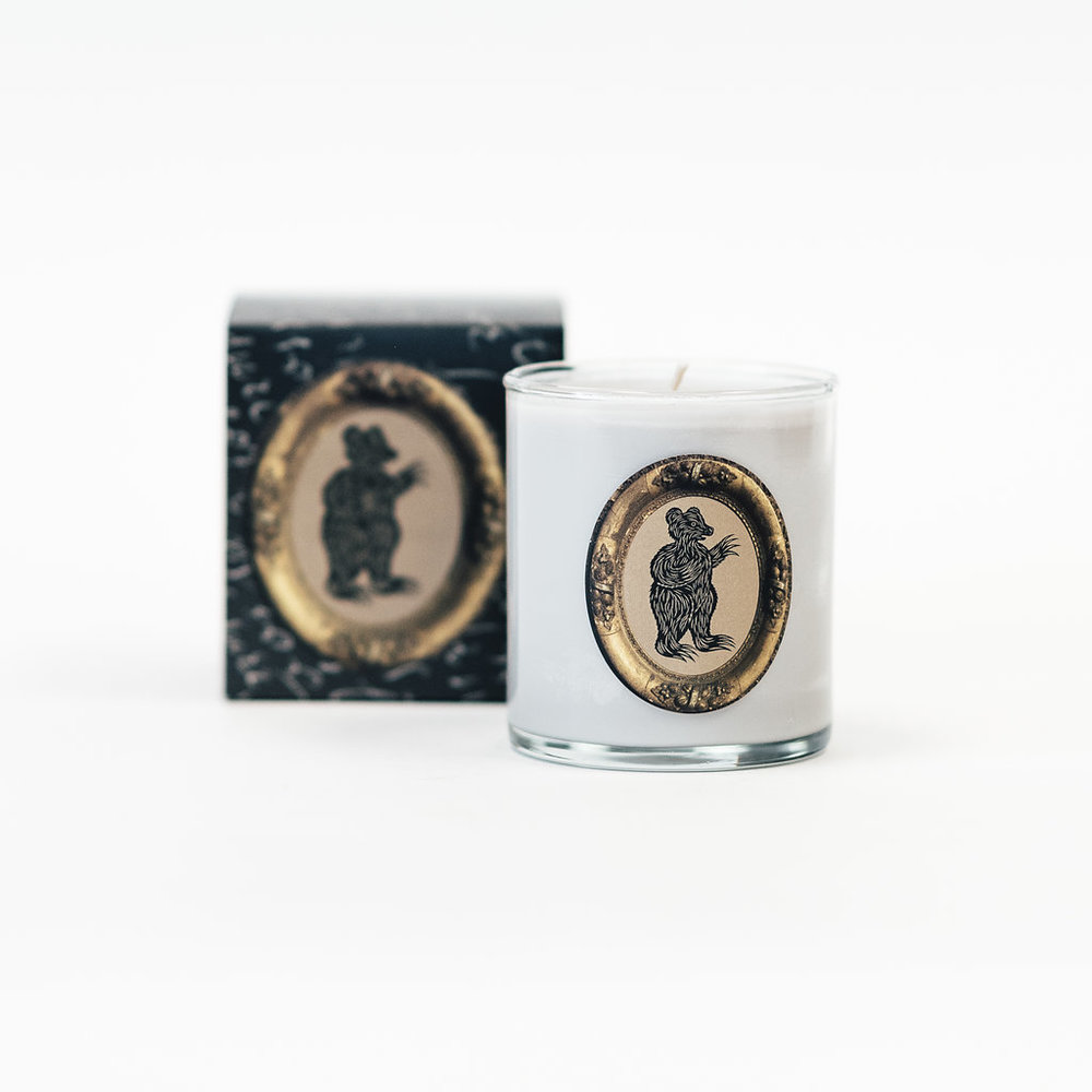 Another favorite is the  Bear Candle  with a Green Fig, Violet, Cedar & Amber Wood scent.