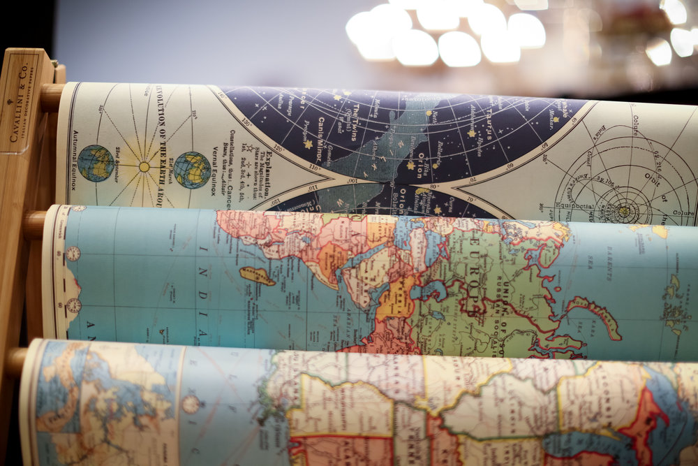 US and World maps printed on archival paper for a bit more sophistication.