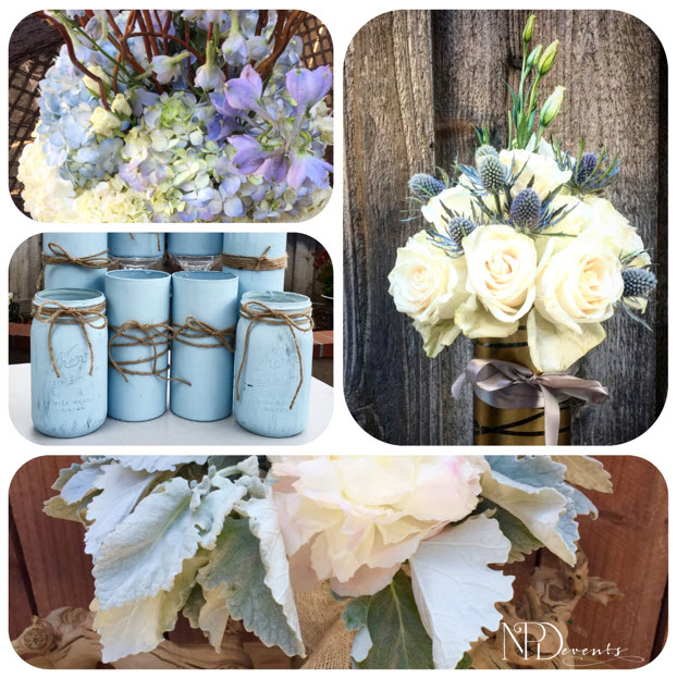 Pictured here are serenity colored hydrangeas, dusty miller, thistle and mason jars