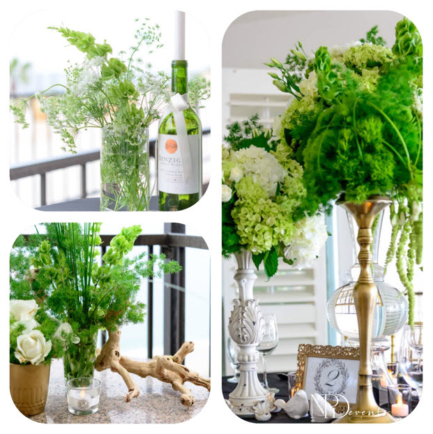 Pictured here are green flash colored bells or Ireland, hydrangea, hanging amaranthus, green dianthus, carnations, ming fern and Queen Anne's Lace