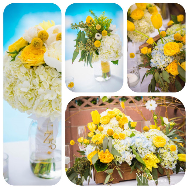 Pictured here are buttercup garden roses, tulips, craspedia, spray roses and dahlias