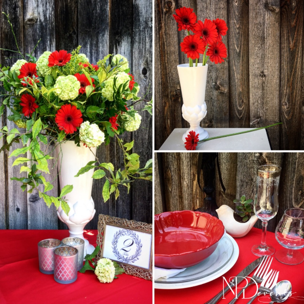 Pictured here are fiesta red daisies combined with viburnum, solidago and greenery