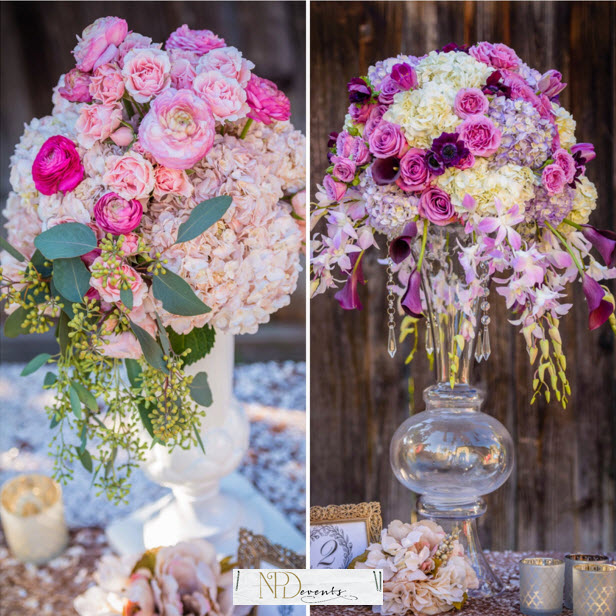 Tall and small, what ties these two beauties together is the use of the same florals. Hydrangeas and roses. The color scheme is in the same family so this works well together.