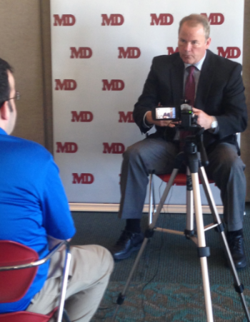 Dr. Bodenner giving an interview at the                 Endocrine Society, San Diego 2015
