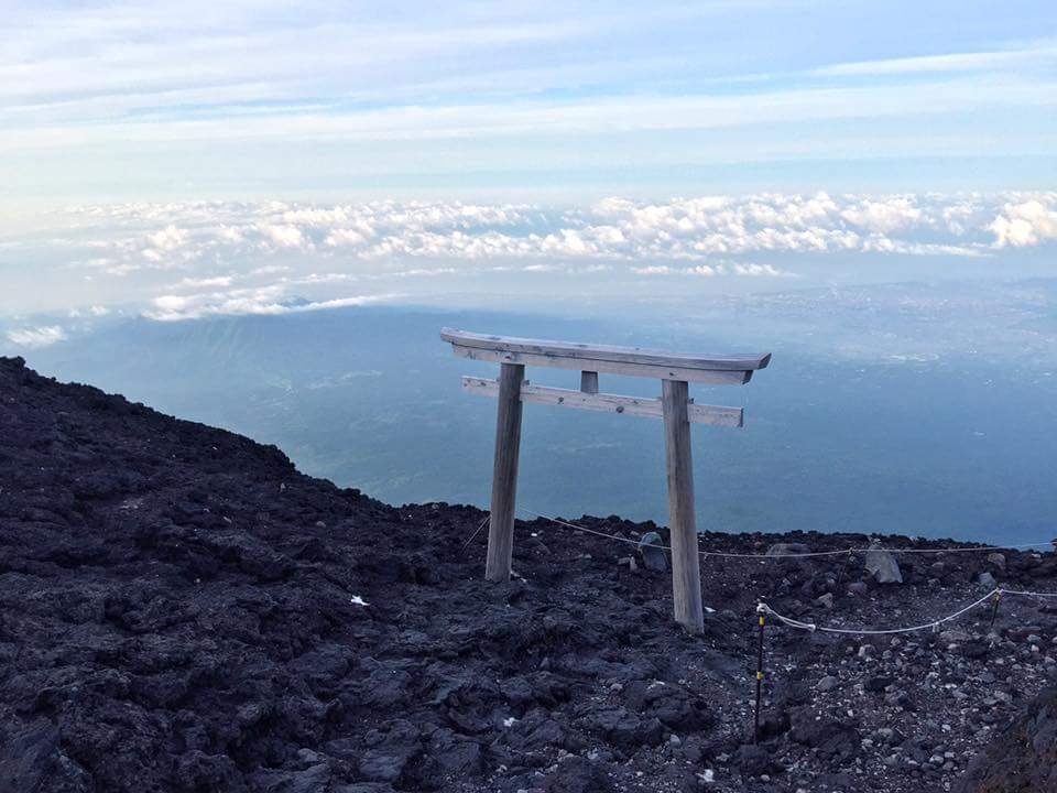 Tori gate at the top of Mt. Fuji.