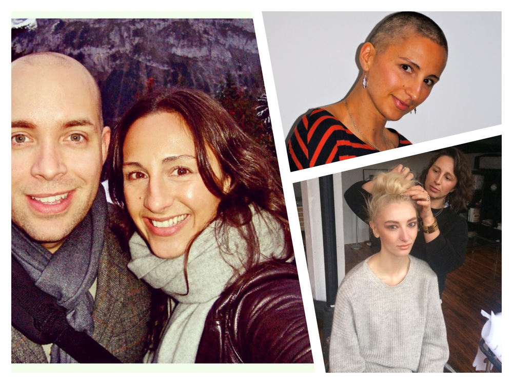Left: Sheri and her husband; Top Right: Sheri looking fierce + fabulous during chemotherapy; Bottom Right: Sheri working her magic.