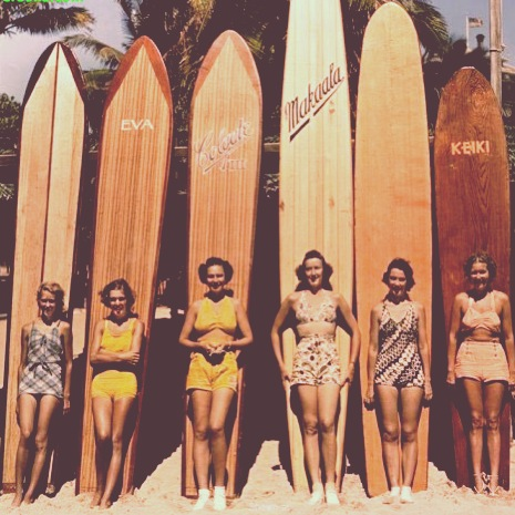 ladies and their surfboards