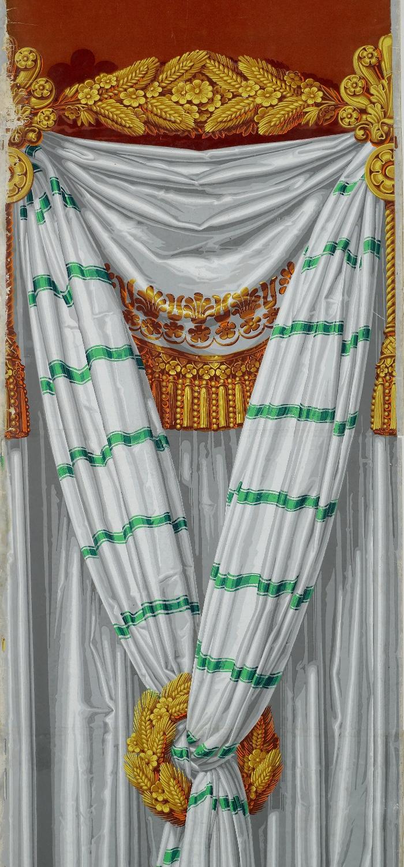 Rideau à bayadère, panneau de papier peint, détail Manufacture Dufour, Paris, vers 1820 Impression à la planche, tontisse. Cliché © D.Giannelli, Musée du Papier Peint, Rixheim, France.