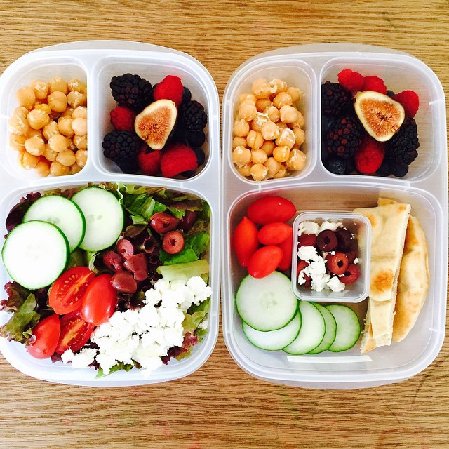 I packed lunch for my baby girl for the first time today. I can't believe she is going to preschool😥She was so excited about it, she wanted it for dinner too. Her big sister wanted her usual favorite for camp, Greek salad and lemony chick peas. So happy she likes figs now! #lunch #preschoollunch #kidslunch #vegetarian #glutenfree