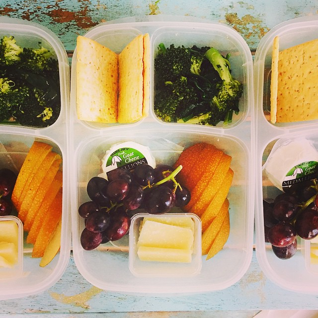 Simple fruit and cheese lunch today. @ahorganics Asian pears and flame grapes, pecorino, goat cheese, crackers and a broccoli spigarello salad. #rockthelunchbox #lunch #lunchbox #schoollunch #preschoollunch #feedfeed #kidslunchideas