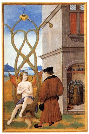 Johannes Perreal painted this miniature in 1516. This is the first known evidence of arborsculpture ever recorded. Was it a vision or did someone actually shape a live tree ?
