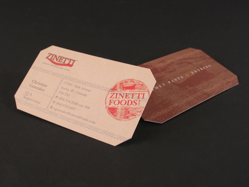 Zinetti Food business card design