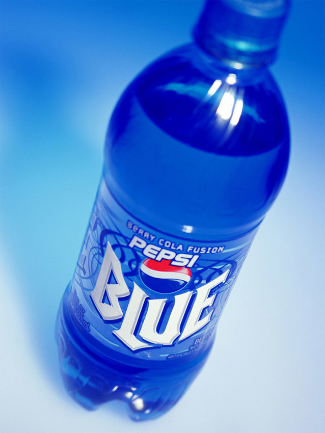 Pepsi Blue beverage bottle label design.