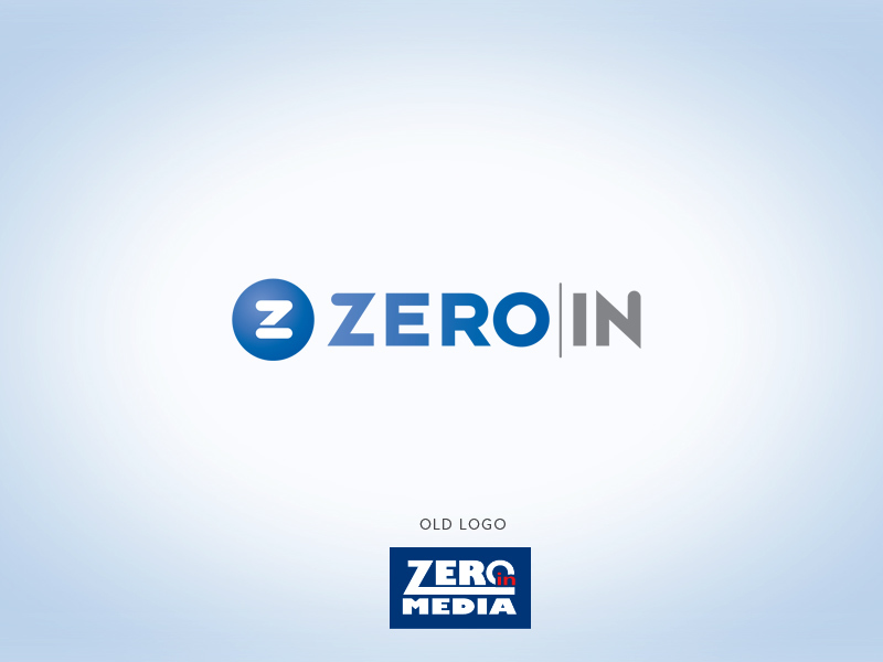 Zero In Media tech logo design.