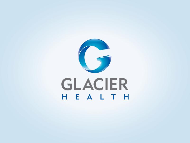 Glacier Health biotech logo design.