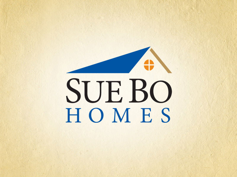 SueBo Homes real estate logo design.