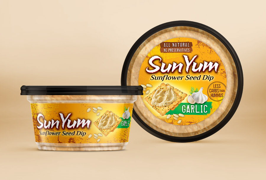 Sun Yum hummus package label design