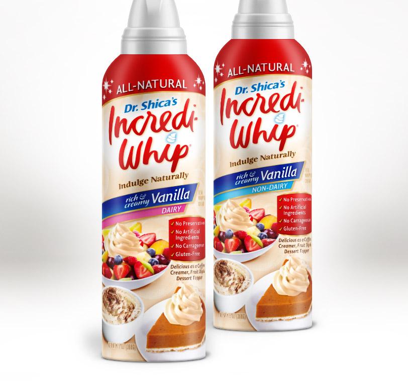 Incrediwhip dessert topping label design