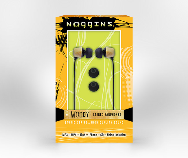 Noggins headphones box packaging design